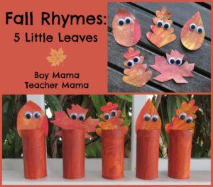 Autumn poems for kindergarten - 5 Little Leaves