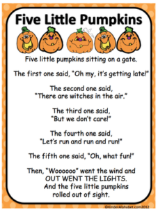 Autumn poems for Kindergarten - 5 Little Pumpkins