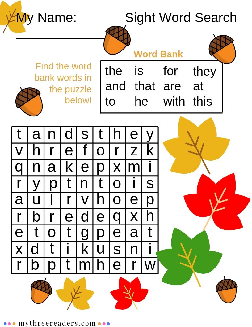 Fall Sight Word Search