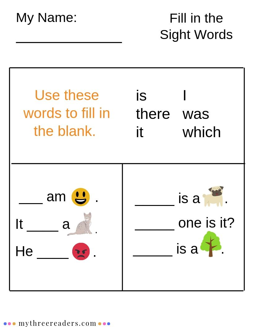 Fill in the Sight Words