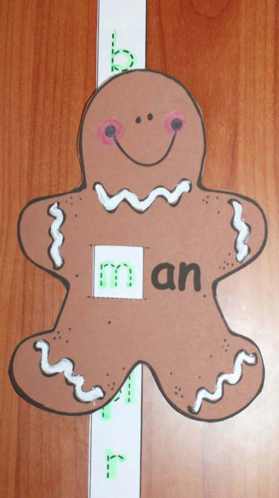 Gingerbread man printable characters, phonics slider