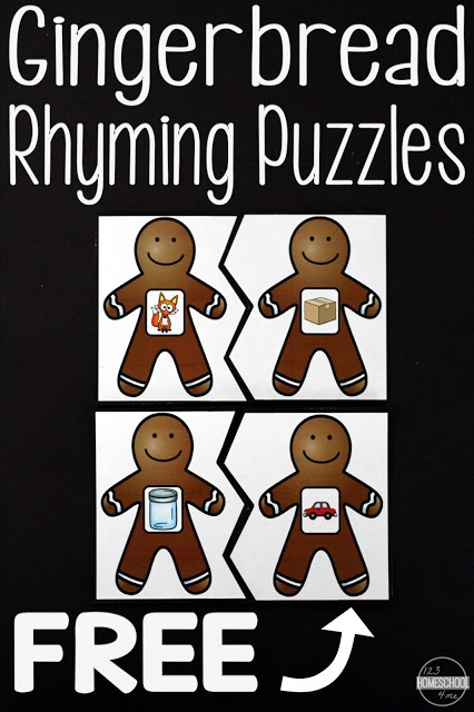 Ginger bread coloring page, rhyming puzzles