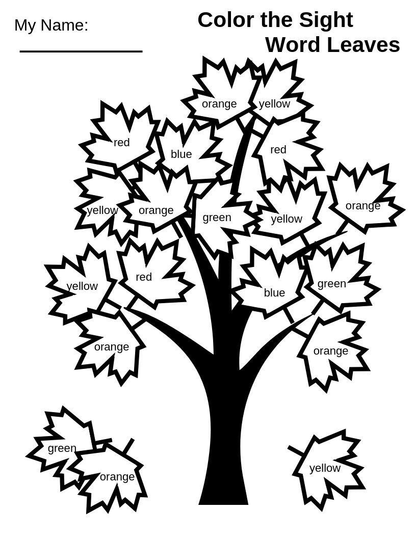 Sight Word Fall Tree