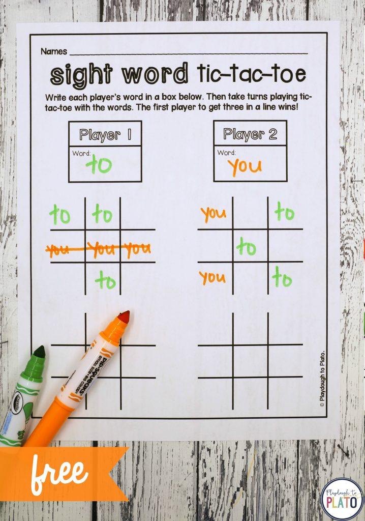 Tic Tac Toe Sight Word Game