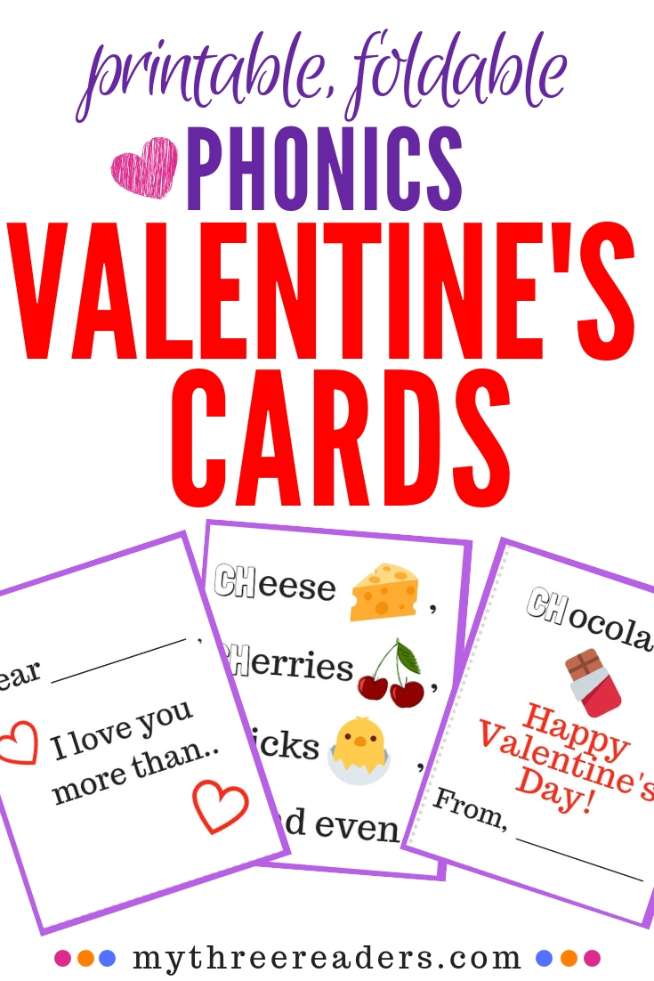 Free printable valentine's day cards that teach phonics blends for beginning readers.