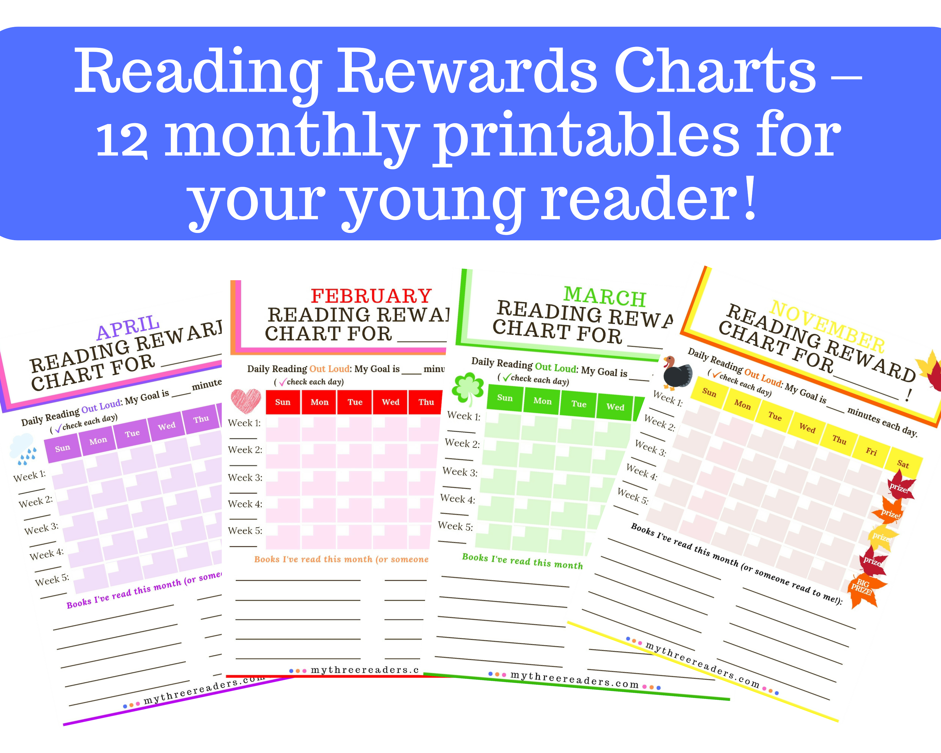 Reading Rewards Charts – 12 monthly FREE Printables for Your Young Reader