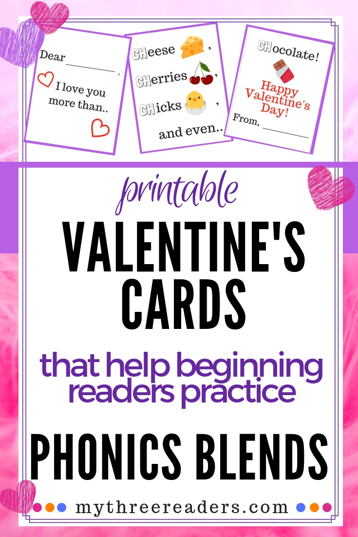 Valentines Phonics Blends Cards, Free printable Valentine's Day cards