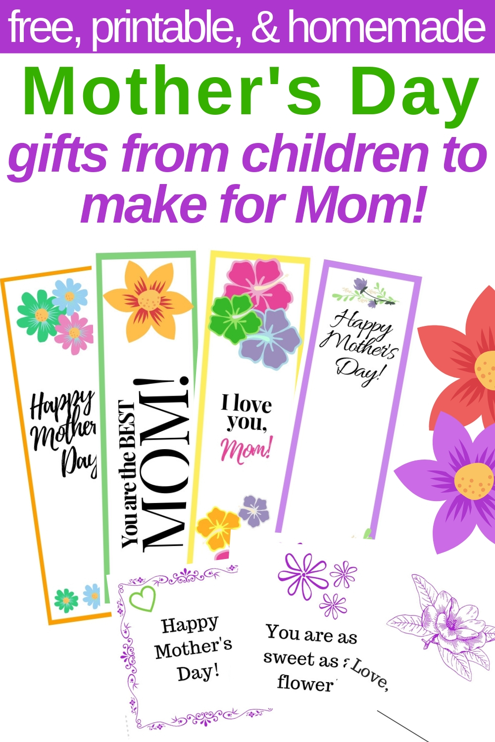 graphic regarding Mother's Day Bookmarks Printable Free identify The Suitable Handmade Moms Working day Present in opposition to Little ones for Mother