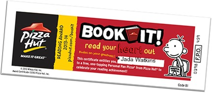 Book It! Pizza Hut Reading Program