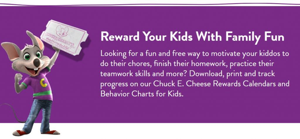 Chuck E Cheese Rewards Calendar