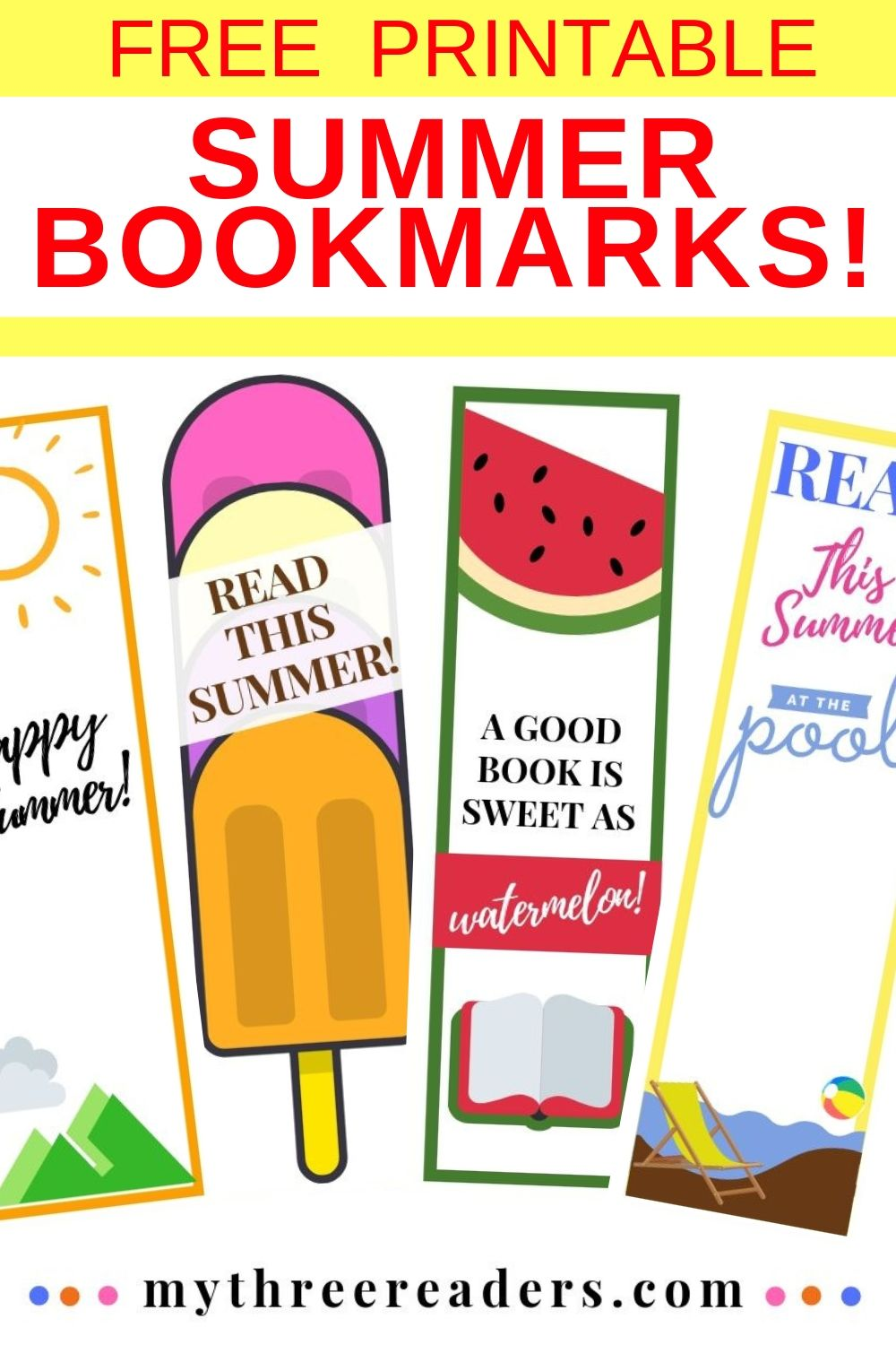 image relating to Bookmarks Printable identified as Totally free Printable Summertime Bookmarks towards Colour - Choose Stage upon