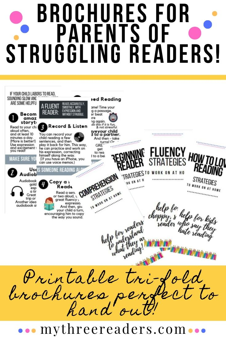 Reading Strategies for Parents Handout Brochures