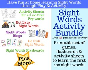 Sight Word Board Games, Flash Cards, Activity Sheets & More!
