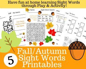 5 Printable Fall Sight Word Worksheets