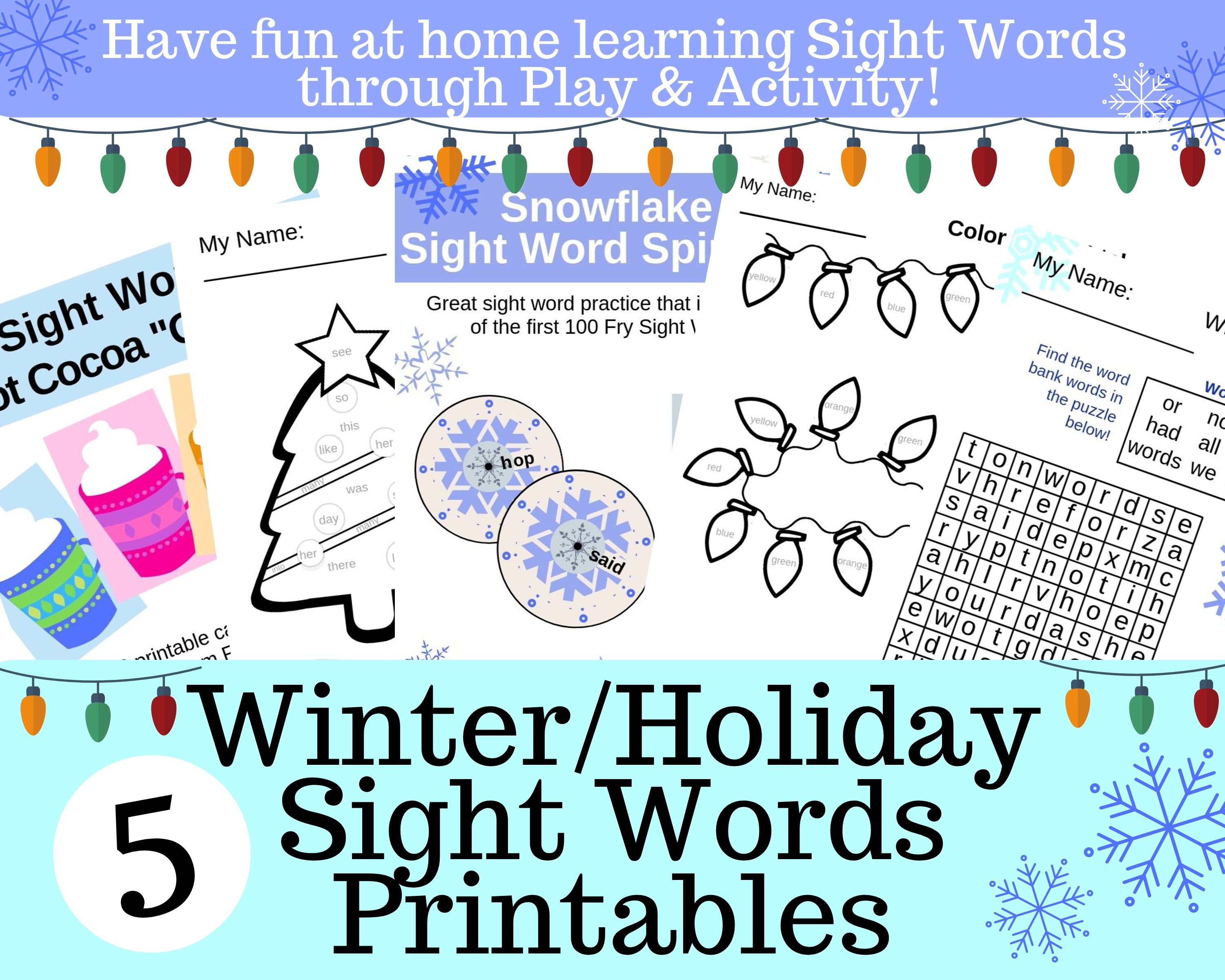 Copy of 5 Printable Fall Sight Word Worksheets