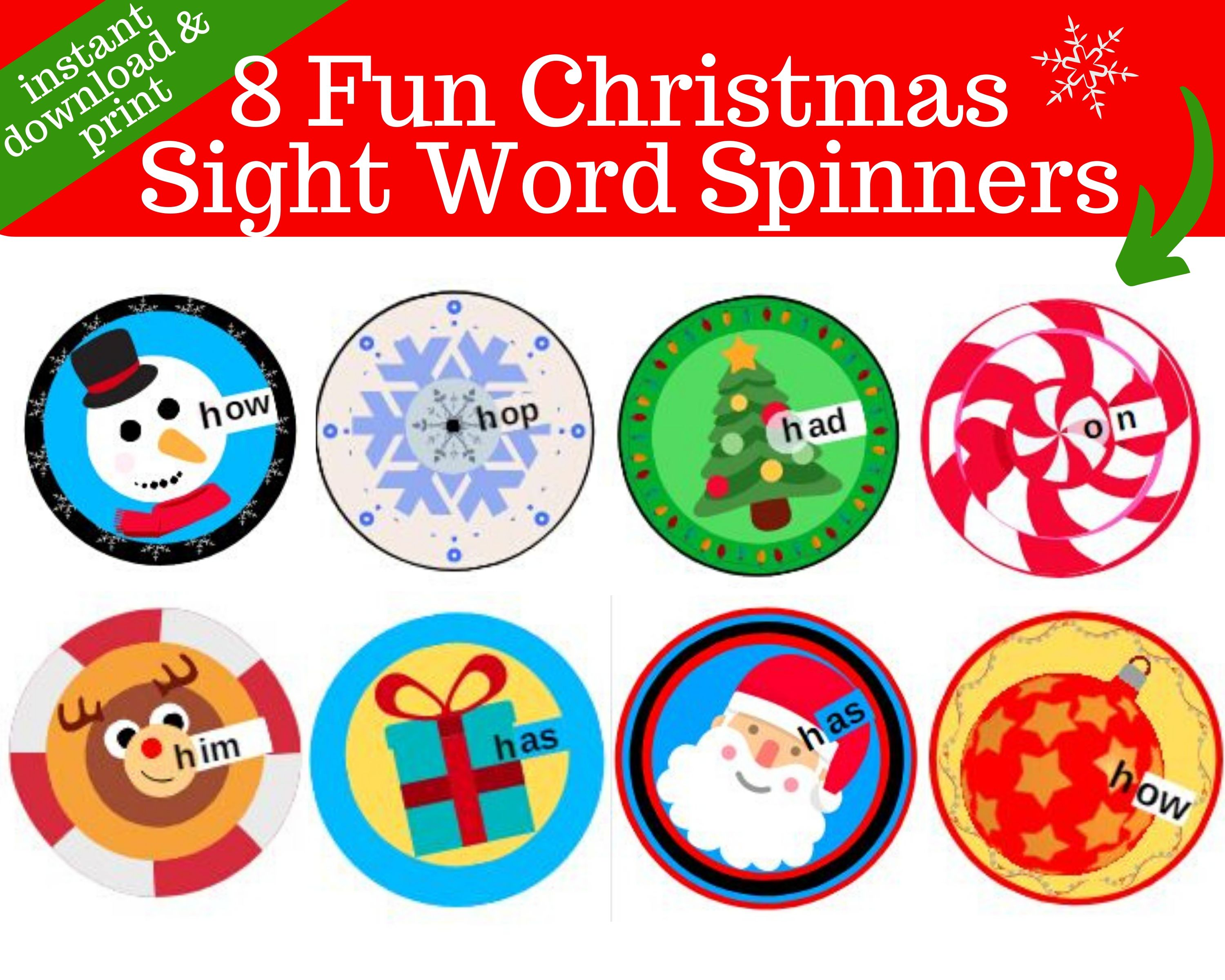 8 Christmas Sight Word Spinners