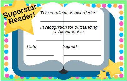 superstar reader certificate
