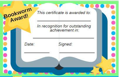 printable bookworm award