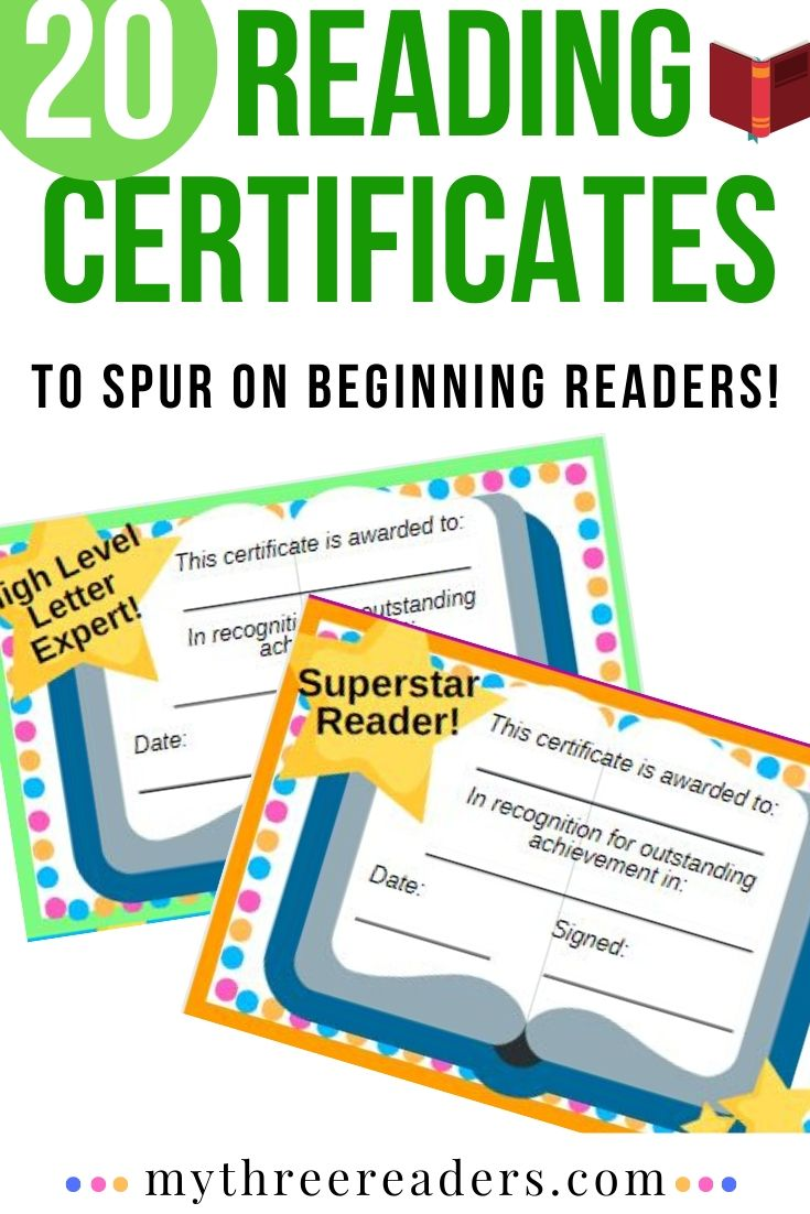 free printable reading certificate