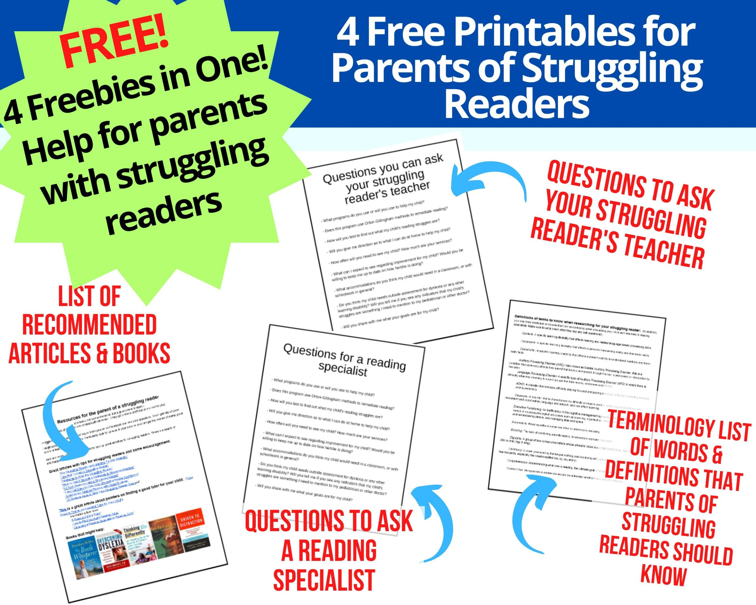 4 in 1 Freebies for Struggling Readers