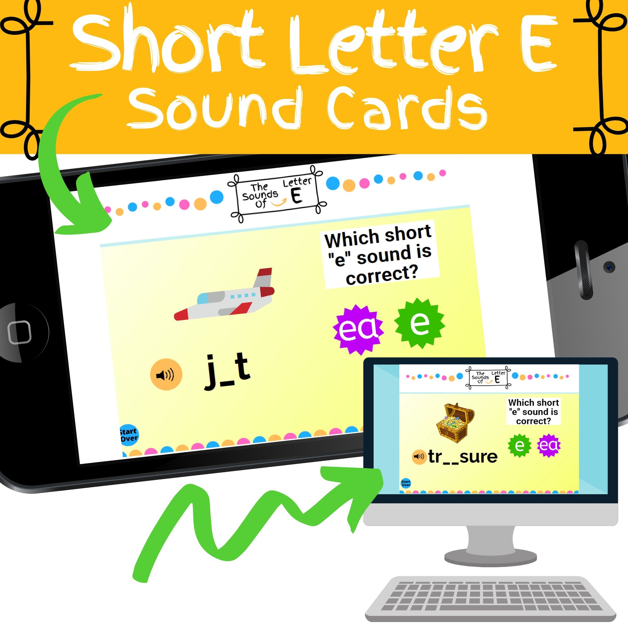 short letter e sound flashcards