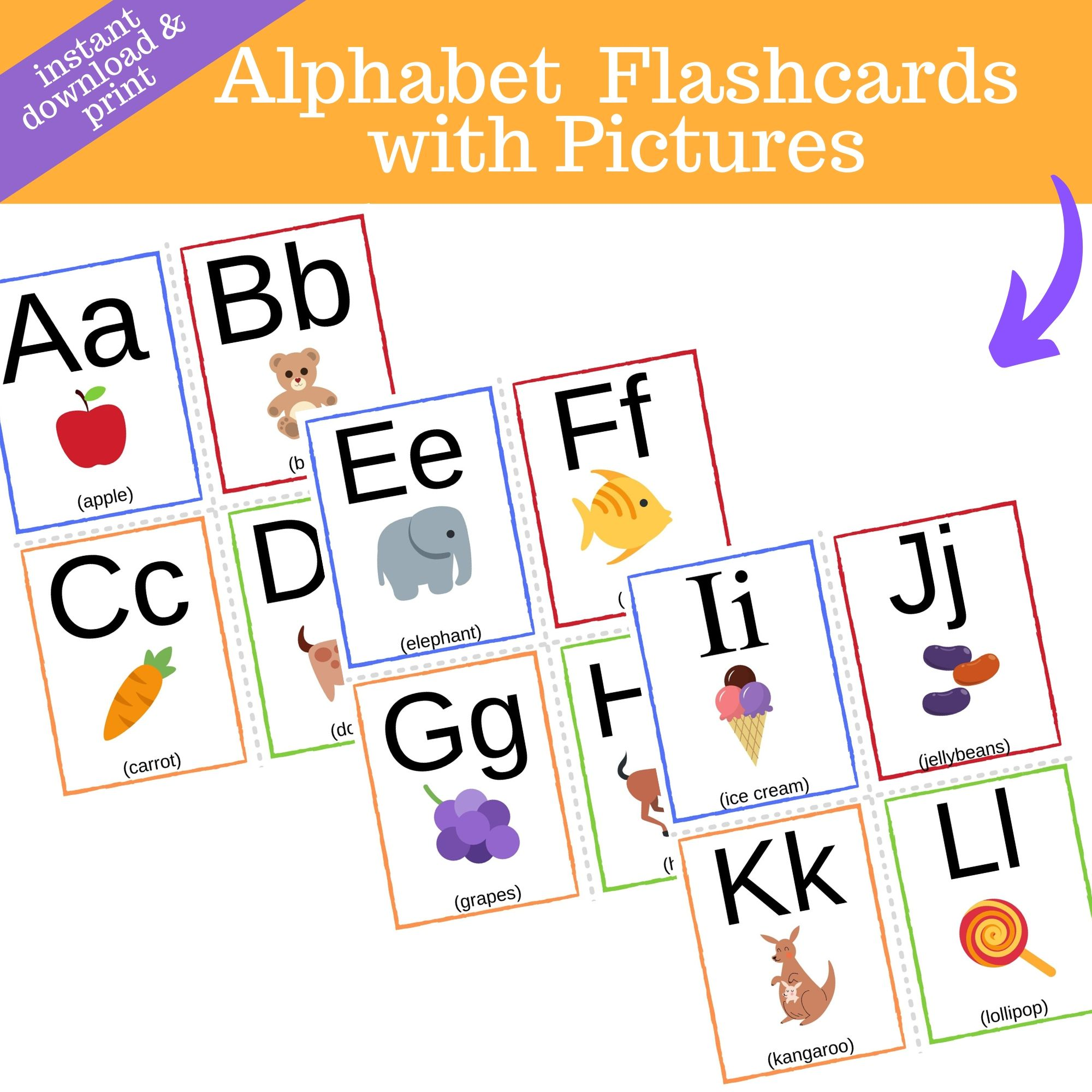 TPT Alphabet Flashcards with Pics