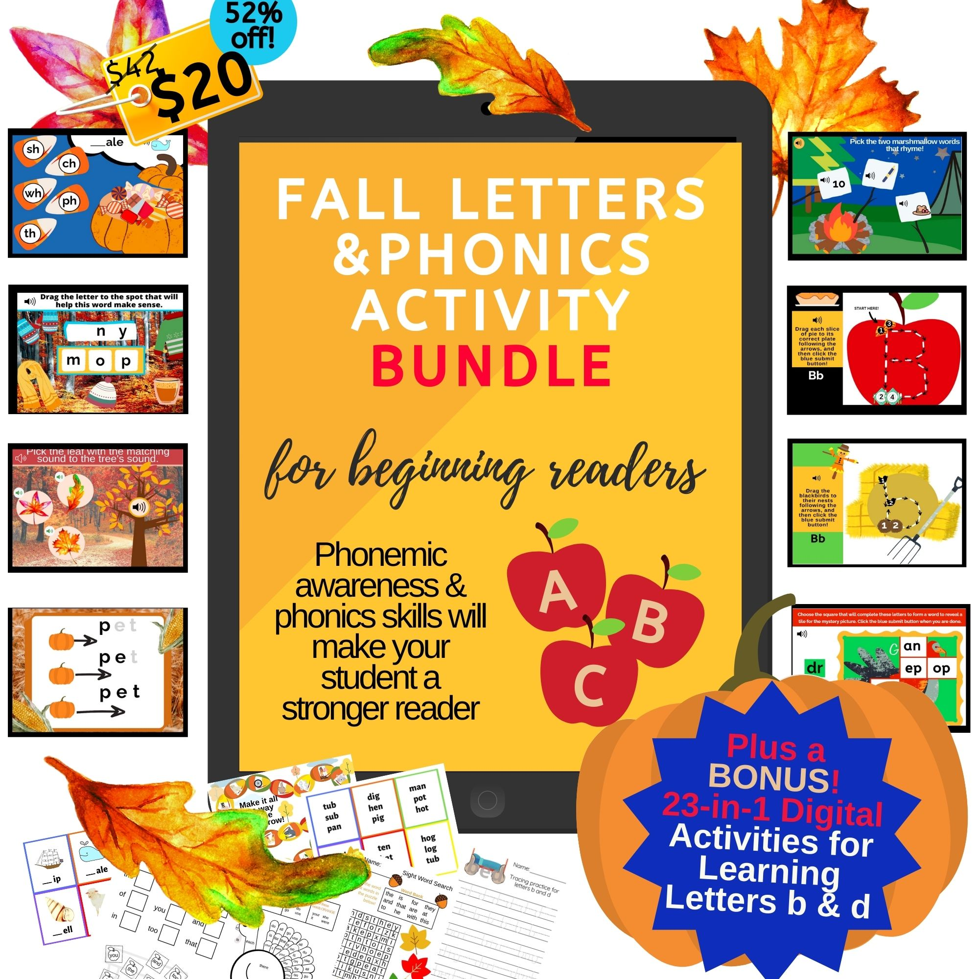 Fall Digital Letters and Phonics Activities BUNDLE