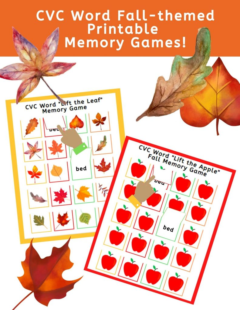 """FREE CVC """"Lift the Flap"""" Fall Printable Memory Games! #fhdhomeschoolers #freehomeschooldeals #fallmemorygames #CVCmemorygame"""